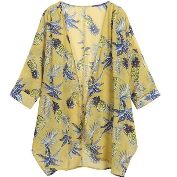 616a1778112 Women s Floral Print Sheer Loose Kimono Capes